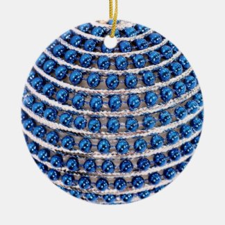 Blue Beaded Round Ceramic Decoration