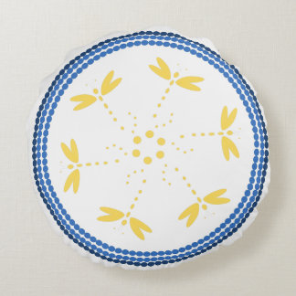 Blue beads and dragonflies in circles round cushion