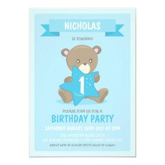 Blue Bear Any Age or First Birthday Invitation