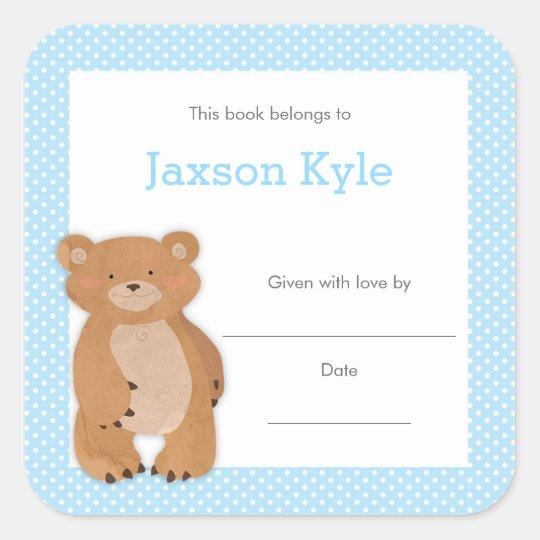 Blue Bear Baby Shower Bookplate, boy book plate