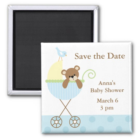 Blue Bear Baby Shower Save the Date Magnet