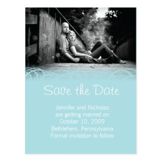 Blue & Beautiful Swirl Save the Date Announcement Postcard