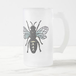 Blue Bee Frosted Glass Mug