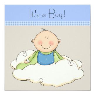 Blue Beige Baby Boy Cloud Baby Shower 13 Cm X 13 Cm Square Invitation Card