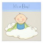 Blue Beige Baby Boy Cloud Baby Shower Custom Invites