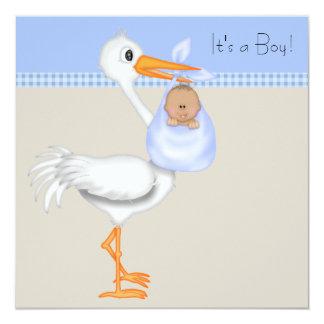 Blue Beige Gingham Stork Baby Boy Shower Card