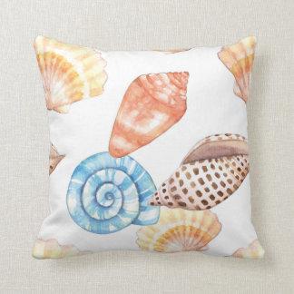 Blue & Beige Seashells Pattern Throw Pillow