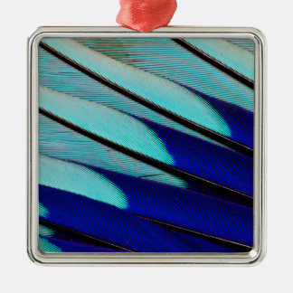 Blue-bellied Roller feathers Silver-Colored Square Decoration
