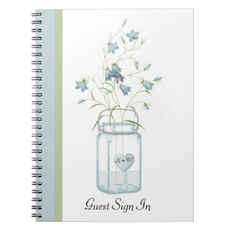 Blue Bells in a Mason Jar Wedding Guest Notebook