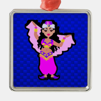 Blue Belly Dancer Silver-Colored Square Decoration
