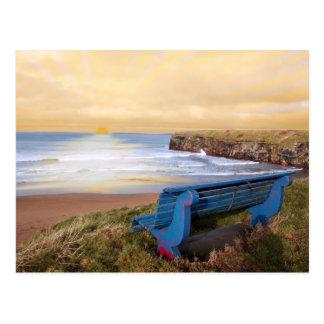 blue bench sunset view postcard
