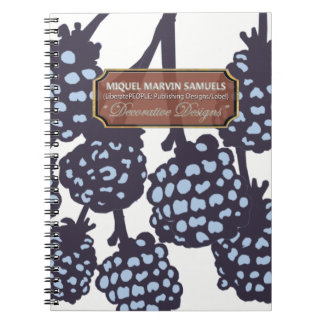 Blue Berries White Food Decorative Modern Notebook