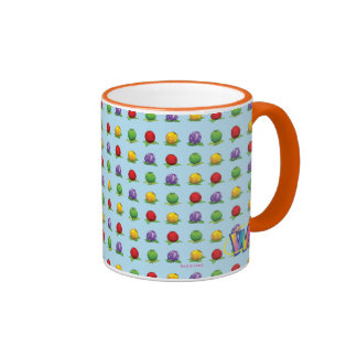 Blue Berry Pattern Ringer Mug