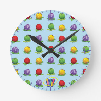 Blue Berry Pattern Round Clock