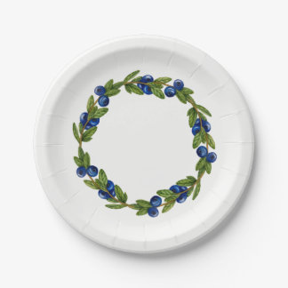 Blue Berry Wreath Paper Plate