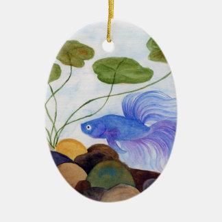 Blue Betta Fish Christmas Ornament
