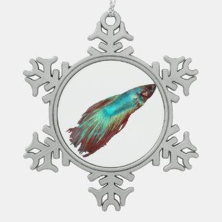 Blue Betta Snowflake Pewter Christmas Ornament