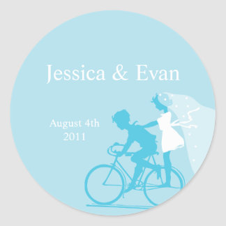 Blue Bicycle Couple Wedding Sticker