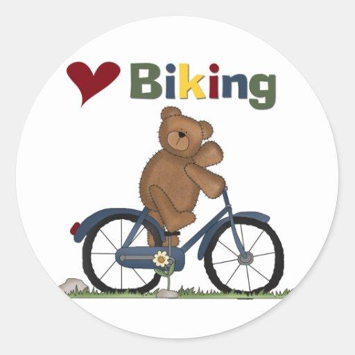 Blue Bicycle I Love Biking Tshirts and Gifts Round Sticker