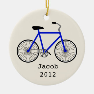 Blue Bicycle Personalized Ornament