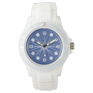 Blue bicycle wheel sports watch
