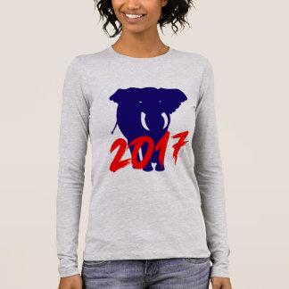 Blue Big Elephant Animals 2017 by VIMAGO Long Sleeve T-Shirt