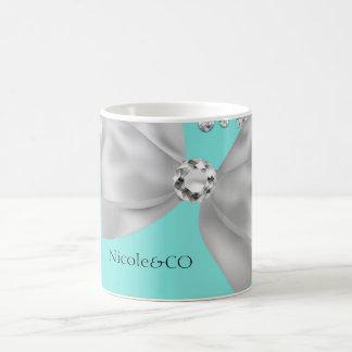 Blue Big White Bow Diamonds Glam Custom Coffee Mug