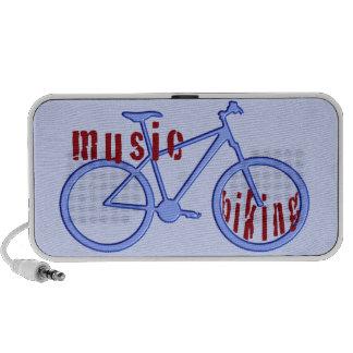 Blue bike and music in red speaker