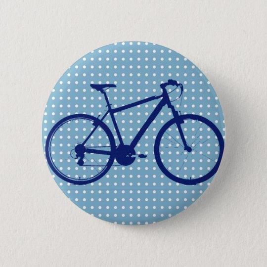 blue bike and polka dots 6 cm round badge