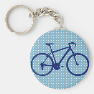 blue bike and polka dots basic round button key ring