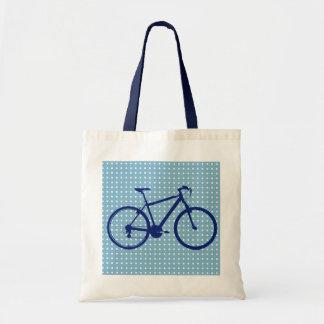blue bike and polka dots budget tote bag