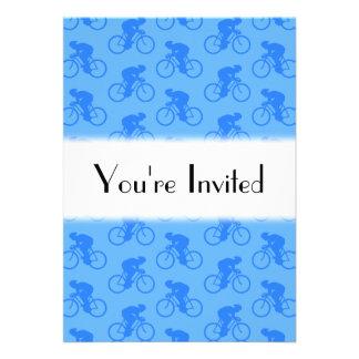 Blue Bike Pattern Personalized Invitation