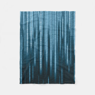 Blue Binary Rain Small Fleece Blanket