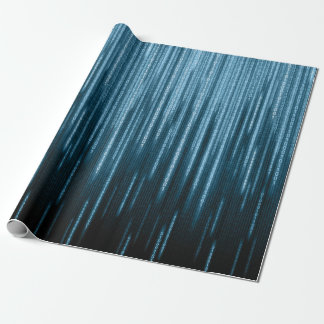Blue Binary Rain Wrapping Paper