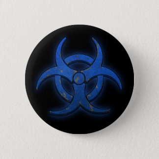 Blue Biohazard 6 Cm Round Badge