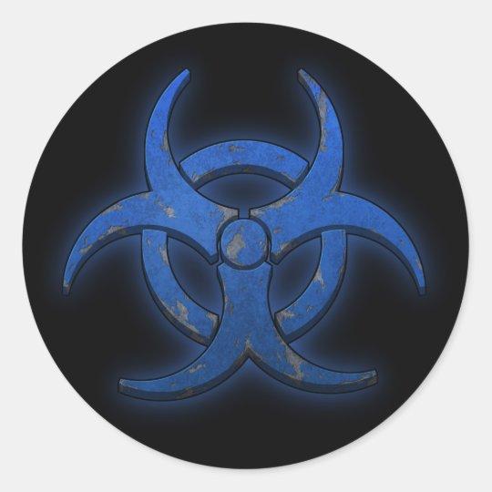 Blue Biohazard Round Sticker