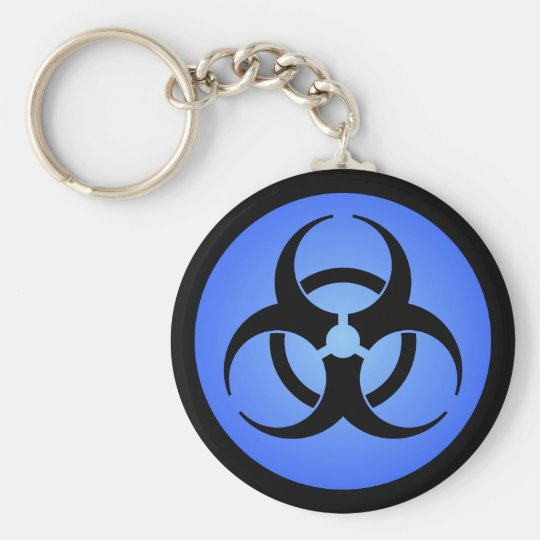 Blue Biohazard Symbol Keychain