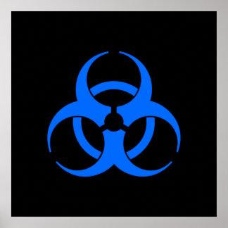 Blue Biohazard Symbol Poster