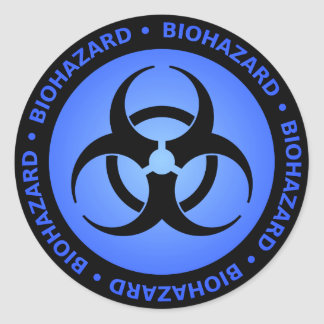 Blue Biohazard Symbol Sticker