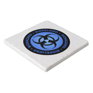 Blue Biohazard Warning Sign Trivet