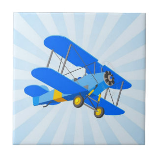 Blue Biplane Graphic with Star Burst Small Square Tile