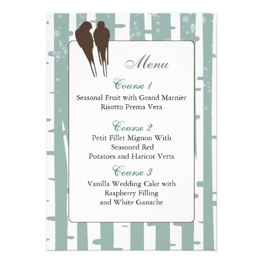 blue birchtree lovebirds winter  menu cards