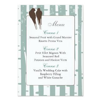 blue birchtree lovebirds winter  menu cards invites