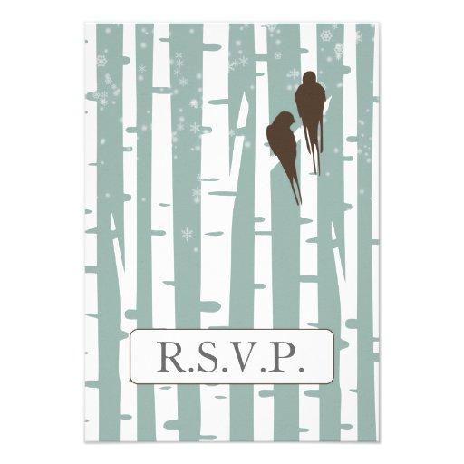 blue birchtree lovebirds winter rsvp 3.5 x 5 custom invitations