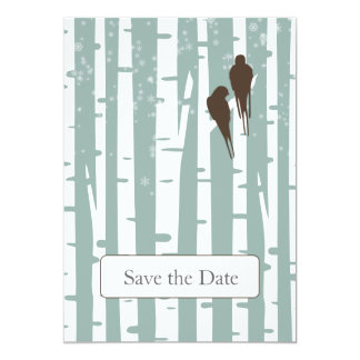 blue birchtree lovebirds winter save the date custom announcements