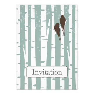 blue birchtree lovebirds winter wedding invites