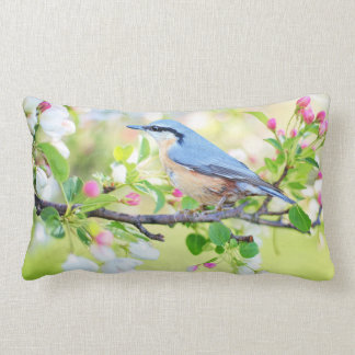 Blue Bird and Apple Blossoms Lumbar Pillow