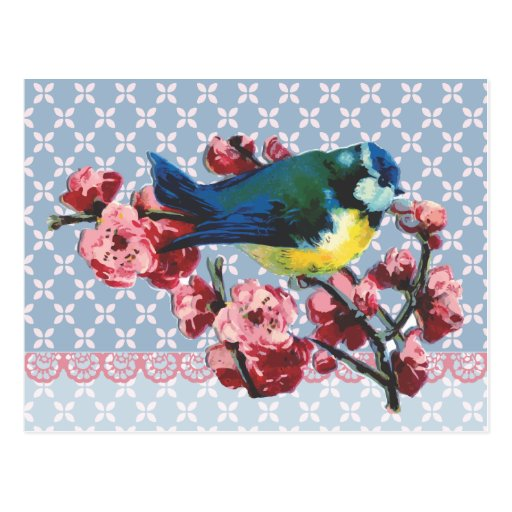 Blue Bird and Cherry Blossom Post Card