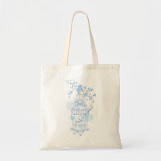 Blue bird cage and flowers spring wedding bag