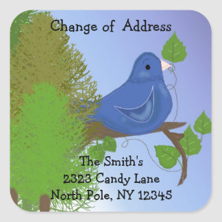 Blue Bird Change of Address Square Sticker
